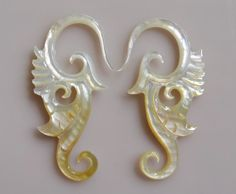 Yellow Mother of Pearl Shell Tribal Leaves Earring 12 by Balidoit, $14.00 Tribal Fashion, Leaf Earrings, Ear Piercings, Horns, Hand Carved, Shells, Pearl, Leaves, Yellow