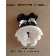 these charming things Black And Silver Schnauzer Dog Felt Brooch (£13) ❤ liked on Polyvore featuring jewelry, brooches, dog charms, felt brooch, mini broach, dog brooch and black and silver jewelry