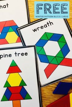 Free winter pattern block task cards and recording sheet. This is the perfect h. - Free winter pattern block task cards and recording sheet. This is the perfect hands on activity fo - Preschool Christmas, Preschool Math, Kindergarten Math, Preschool Winter, Elementary Math, Teaching Math, Hands On Activities, Christmas Activities, Preschool Activities