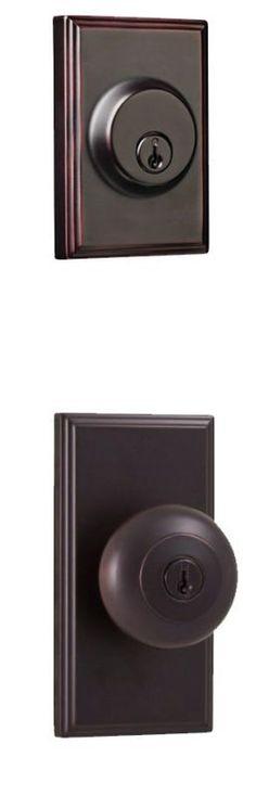 Weslock 3740I-3771 Impreza Single Cylinder Keyed Entry Knob Set with Woodward Ro Oil Rubbed Bronze Knobset Combo Pack Keyed Entry Single Cylinder