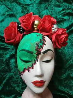 Handmade headdresses by me at Thumbelina Bliss. Red roses with skulls I also make to order too. Headdress, Red Roses, My Etsy Shop, Skull, Trending Outfits, Unique Jewelry, Handmade Gifts, Bliss, Vintage