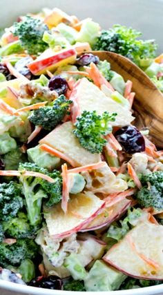 Fresh Broccoli and Apple Salad with walnuts and a Creamy Lemon Dressing. Healthy recipe with fruit and vegetables, packed with fiber.