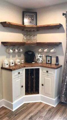 Are you looking for inspiration to design coffee bar? Check out our best collection of DIY coffee bar ideas for your home that will brighten your morning. home diy 30 Best Home Coffee Bar Ideas for All Coffee Lovers Style At Home, Corner Wine Cabinet, Corner Shelves, Coffee Cabinet, Kitchen Shelves, Corner Cabinets, Kitchen Cabinets, Corner Wine Rack, Kitchen Storage