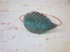 Teal blue gray patina leaf copper bangle copper by madebysheri, $16.00