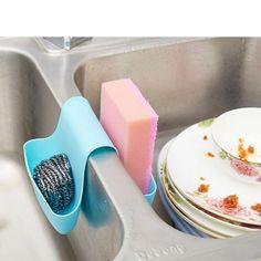 4YANG 2016 Sink Dish Cloth Sponge Holder Storage Organizer Drain Bag Saddle Racks Dual Debris Drain Basket Kitchen Tool