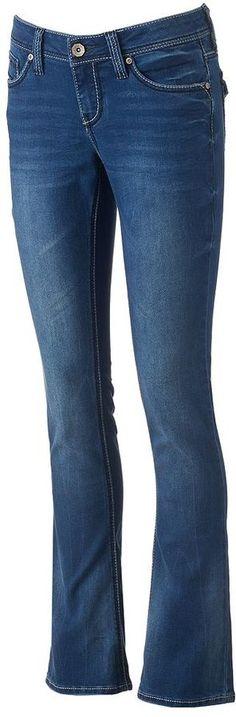 Juniors' Hydraulic Flap-Pocket Slim Bootcut Jeans