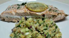 Salmon with Pink Lentil Salad