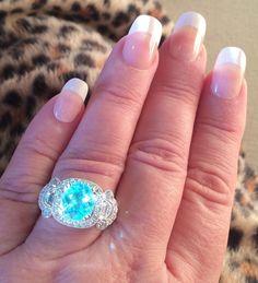 14K GOLD 5.67 CT. CERTIFIED GIA NEON UNHEATED PARAIBA TOURMALINE DIAMOND RING #Handmade #COUTURE