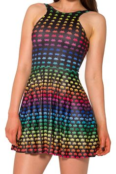Rainbow Space Invaders Reversible Skater Dress (WW $95AUD / US $90AUD) by Black Milk Clothing