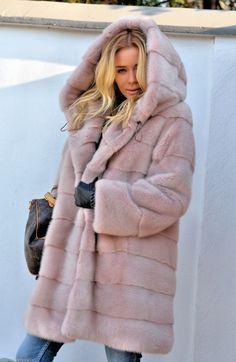 mink furs - fantasic pastel rosa saga mink fur coat with hood