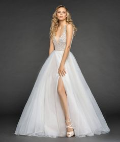 Style 6854 Warren Hayley Paige bridal gown - Moondust beaded organza A-line gown, rhinestone encrusted bodice with iridescent accent, deep V-neckline and keyhole back, layered organza skirt with slit.