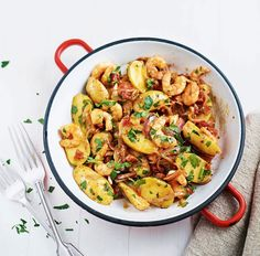 New potatoes, king prawns and chorizo with tomato and chilli