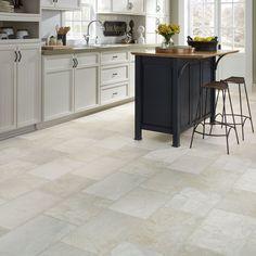Resilient Natural stone vinyl floor upscale rectangular large-scale travertine