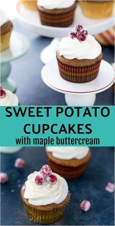 You need these sweet potato cupcakes on your holiday dessert table. They are moist, perfectly spiced and topped with a fluffy frosting. #cupcakes #desserts