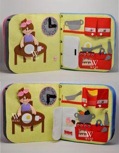 Reizen stof Dollhouse boek met vilten pop. Het is een geweldig cadeau voor uw kind!  Dit poppenhuis heeft interessante inhoud en stimuleren van de ontwikkeling van de handen. Bevat kleine onderdelen, niet geschikt voor kinderen onder de 3. Maar u kunt ze verwijderen totdat het kind in hen groeit. Het poppenhuis zal zitten interessant voor kinderen vanaf leeftijd die ze pretend play (ongeveer twee jaar oud begrijpen).  Aangezien het een handgemaakte item, kan boekontwerpen verschillen…
