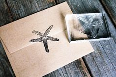 """Big Starfish Stamp ( 3"""" x 3"""" ) & Small Starfish Stamp (1"""" x 1"""" ) - Seafood Rubber Stamp, Ocean Rubber Stamp door DeepSeaStamps op Etsy https://www.etsy.com/nl/listing/199352022/big-starfish-stamp-3-x-3-small-starfish"""