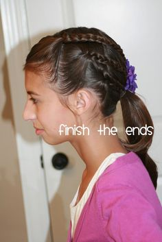 This is a super easy tweenage style for the days they want a regular ponytail, but you want something just a little more eye catching. Sup...