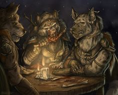 Gnolls eating dinner