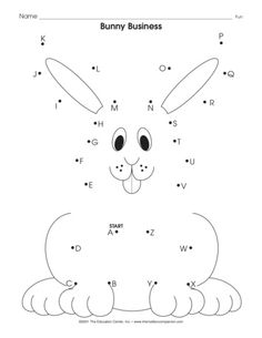 as easy as ABC. Connect the dots in alphabetical order, color the bunny, and then write or tell a story—featuring the bunny as the main character, of course! A free springtime worksheet from TheMailbox! Nursery Worksheets, Easter Worksheets, 1st Grade Math Worksheets, Preschool Worksheets, Preschool Learning Activities, Preschool Curriculum, Preschool Printables, English Worksheets For Kindergarten, Das Abc