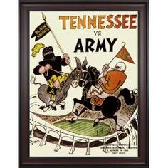 1966 Tennessee vs. Army 36x48 Framed Canvas Historic Football Print