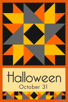HALLOWEEN QUILT BLOCK - This quilt block is an original design by Susan Davis. Susan is the owner of Olde America Antiques and American Quilt Blocks. Visit her web sites to see more than 6,000 quilt blocks for sale.