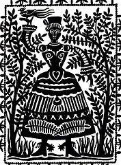 Folk art image of a woman holding a bird