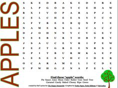 Free Printable Apple Word Search Activity sheets Apple