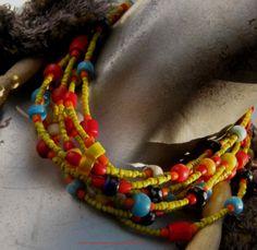 Collier aux Anciennes Pâte de Verre Tibet Afrique. Antique Glass Paste Necklace. #Ethnique