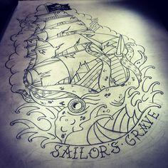 Tattoo pirate ship with kraken... Sailors grave