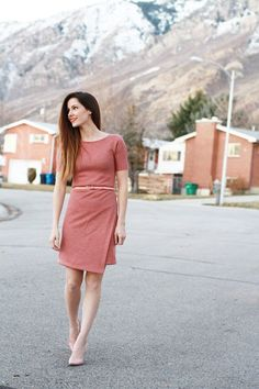 DIY asymmetrical knit sheath dress