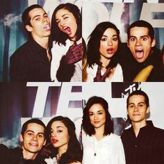 Dylan O'Brien (Stiles) and Crystal Reed (Allison) behind the scenes of Teen Wolf.