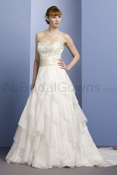 Charmeuse Strapless Sweetheart Embroidered Bodice Ball Gown Wedding Dress - Wedding Dresses Australia