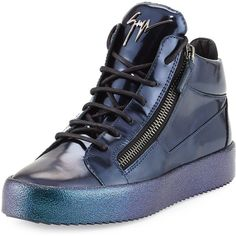 Giuseppe Zanotti Mid-Top Leather Sneaker with Ombre Sole (1.215 BRL) ❤ liked on Polyvore featuring men's fashion, men's shoes, men's sneakers, blue, mens blue shoes, mens leather lace up shoes, mens blue leather shoes, mens blue sneakers and giuseppe zanotti mens sneakers