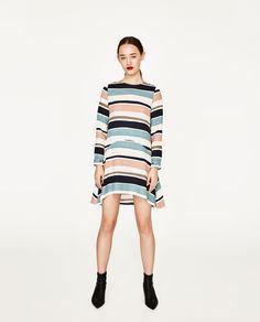 Image 1 of STRIPED FLOUNCE DRESS from Zara