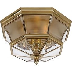 Elstead Lighting Newbury 3 Light Flush Ceiling Fitting Made from Solid Brass in Polished Brass Finish - Elstead Lighting from Castlegate Lights UK