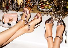 Jimmy Choo Reign 100 Dusty Rose Satin Sandals with Camellia Mix Anklet and Rosa 100 Pumps with Crystal Mix Clip on Jewels