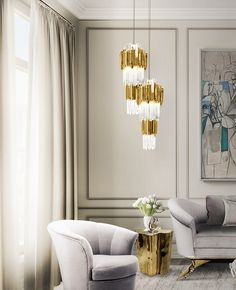 Empire Pendant | Hotel Lobby | LUXXU Modern Lamps | One of our main gold is our Empire Pendant, inspired in the stunning architectural building, the Empire State Building. #modernlamps #modernchandelier #luxurychandelier See more: http://www.luxxu.net/products/empire-pendant.php