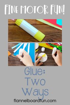Simple tools for preschoolers give them confidence and build fine motor skills.  This blog series talks about two simple ways to use glue in your art area at home or school.  #preschool #preschoolactivities #finemotor