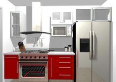 Cocineta chica en MDF con termolaminado alto brillo. Funcionalidad y Estilo contemporáneo.