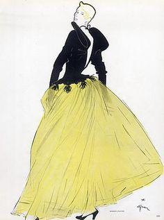 Robert Piguet 1949 René Gruau, Evening Gown