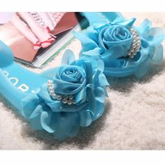 Jelly Blue Flat Peep Toe Rosette Wedding Prom Bridesmaid Shoes Sandals SKU-1090616