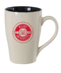 "Cafe Mug: This oversized, 24oz mug is perfect for your morning cup of coffee. Features a black interior and sand exterior with a bold, red ""Miami University"" imprint."