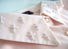 #DIY tutorial. Cross embroidery on shirt collar. Trends With Benefits