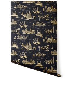 Cities Toile (Ebony) Wallpaper - Rifle Paper Co. for Hygge & West