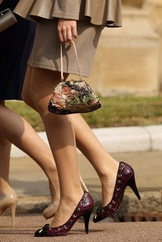 Princess Beatrice's shoes and handbag as she arrives to attend the Easter Matins at St George's Chapel in Windsor Castle on April 24, 2011 in Windsor, England. The annual service attended by the Queen and members of the Royal Family is one of the last formal royal engagements before the marriage of Prince William and Catherine Middleton in Westminster Abbey on April 29, 2011.