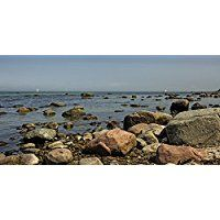 Artland Echt-Glas-Wandbild Deco Glass Andrea Potratz Rügens steinige Küsten Landschaften Küste Fotografie Blau 30 x 60 x 1,1 cm