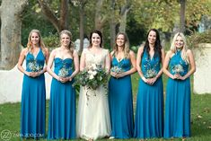 Bride and Bridesmaids Blue Dresses Blue Bridesmaid Dresses, Brides And Bridesmaids, Blue Dresses, Wedding Dresses, Wedding Styles, Wedding Photos, Wedding In The Woods, Autumn Wedding, Colours