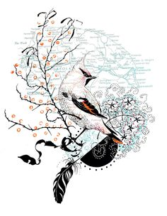 Image of The Cromer waxwing-hand printed screen print edition of 24 - Julia McKenzie
