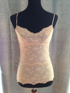 Eberjey Lace Cami tank top Ivory Lace Size Small S Adjustable Straps Sleeveless  | eBay