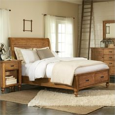 Riverside Furniture Summerhill Sleigh Storage Bed in Canby Rustic Pine - King Bed Designs With Storage, Bedroom Makeover, Bed Design, Rustic Bedroom Sets, Riverside Furniture, Furniture, Bed Storage, Bedroom Furniture, Rustic Bedroom Furniture